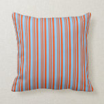 [ Thumbnail: Red & Light Sky Blue Colored Stripes Throw Pillow ]