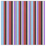 [ Thumbnail: Red, Light Sky Blue, Purple, White & Black Lines Fabric ]