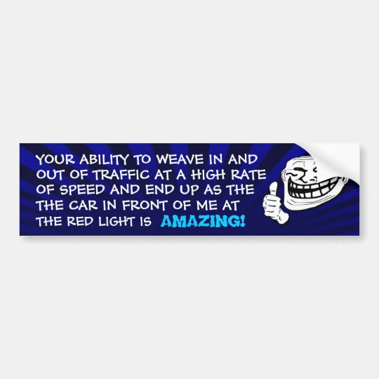 Red Light Troll Bumper Sticker (Blue)