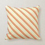 [ Thumbnail: Red & Light Yellow Colored Stripes Throw Pillow ]