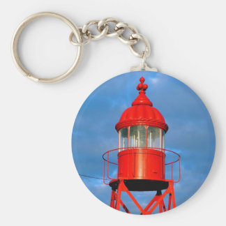Red lighthouse basic round button keychain