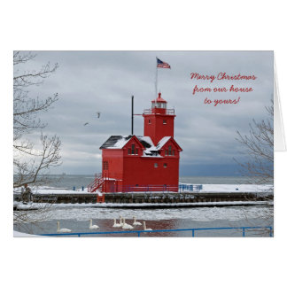 Red Lighthouse Christmas Card
