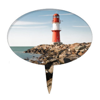 Red lighthouse in Warnemuende Cake Toppers