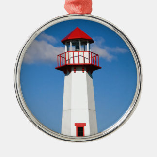 Red Lighthouse Metal Ornament