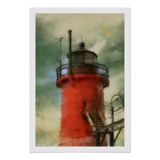 Red Lighthouse Poster