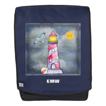 Beach Themed Red Lighthouse with a Stormy Background Backpack