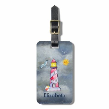 Beach Themed Red Lighthouse with a Stormy Background Bag Tag