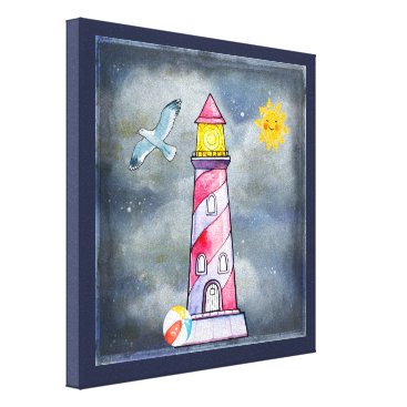 Beach Themed Red Lighthouse with a Stormy Background Canvas Print