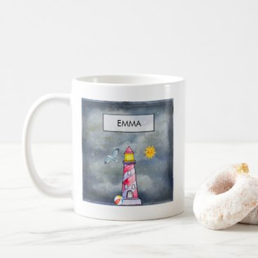 Beach Themed Red Lighthouse with a Stormy Background Custom Coffee Mug