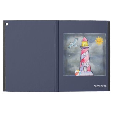 Beach Themed Red Lighthouse with a Stormy Background Custom iPad Pro Case