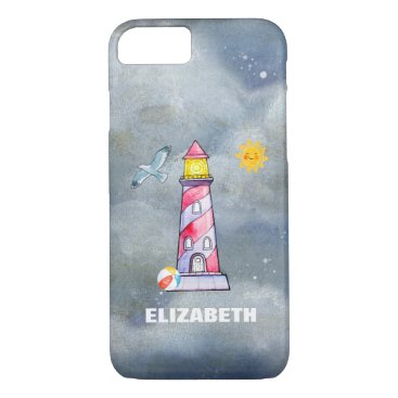 Beach Themed Red Lighthouse with a Stormy Background Custom iPhone 7 Case