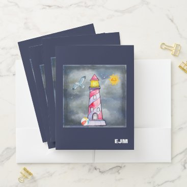 Beach Themed Red Lighthouse with a Stormy Background Custom Pocket Folder