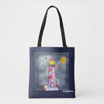Beach Themed Red Lighthouse with a Stormy Background Custom Tote Bag