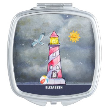 Beach Themed Red Lighthouse with a Stormy Background Custom Vanity Mirror