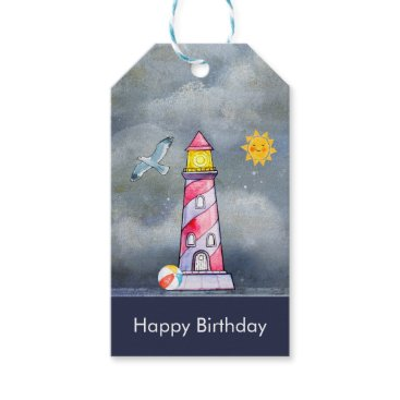 Beach Themed Red Lighthouse with a Stormy Background Gift Tags