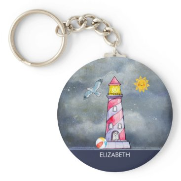 Beach Themed Red Lighthouse with a Stormy Background Keychain