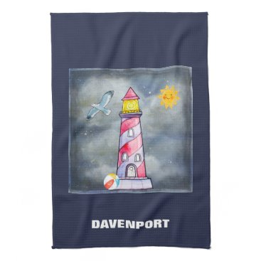 Beach Themed Red Lighthouse with a Stormy Background Kitchen Towel
