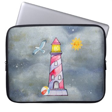 Beach Themed Red Lighthouse with a Stormy Background Laptop Sleeve