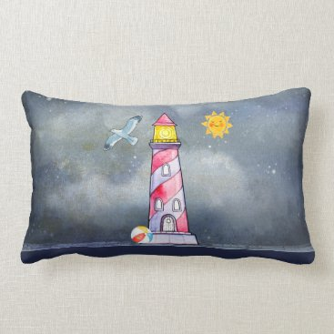 Beach Themed Red Lighthouse with a Stormy Background Lumbar Pillow