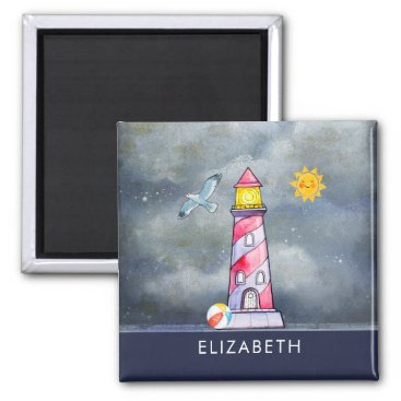 Beach Themed Red Lighthouse with a Stormy Background Magnet