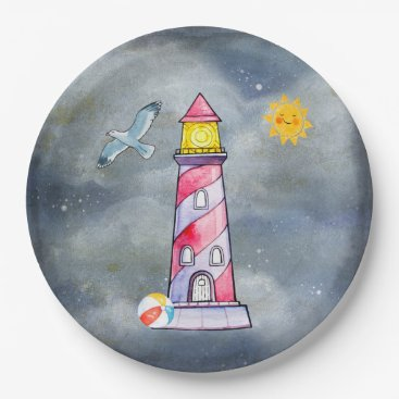 Beach Themed Red Lighthouse with a Stormy Background Paper Plate