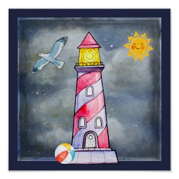 Beach Themed Red Lighthouse with a Stormy Background Poster