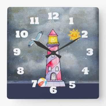 Beach Themed Red Lighthouse with a Stormy Background Square Wall Clock