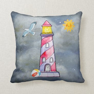 Beach Themed Red Lighthouse with a Stormy Background Throw Pillow