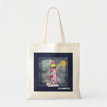 Beach Themed Red Lighthouse with a Stormy Background Tote Bag