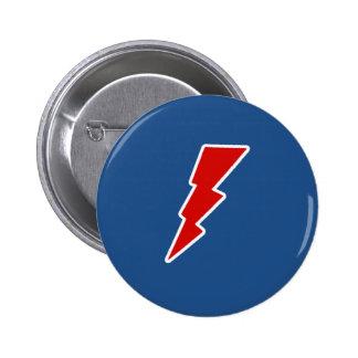 red lightning bolt pinback button