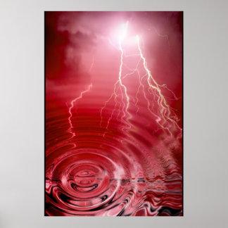 Red Lightning Print