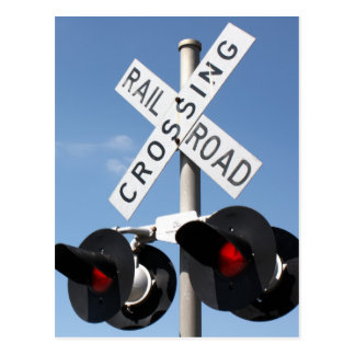 Red Lights - Railroad Crossing Sign Postcard