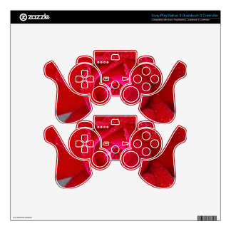 Red Lilac Rose Flower and Dew Gifts PS3 Controller Skins