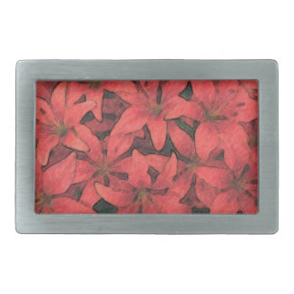 Red Lilies Belt Buckle