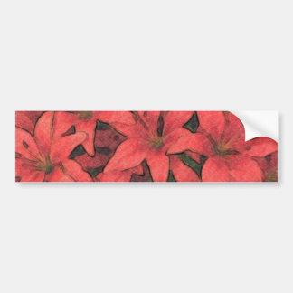 Red Lilies Bumper Sticker Car Bumper Sticker