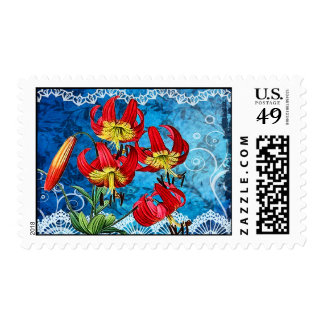 Red Lilies on Blue Postage