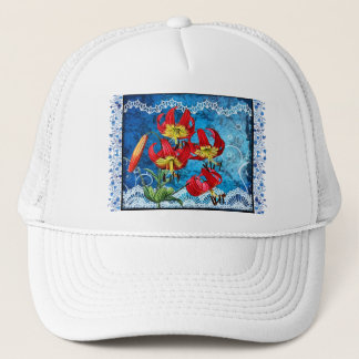 Red Lilies on Blue Trucker Hat