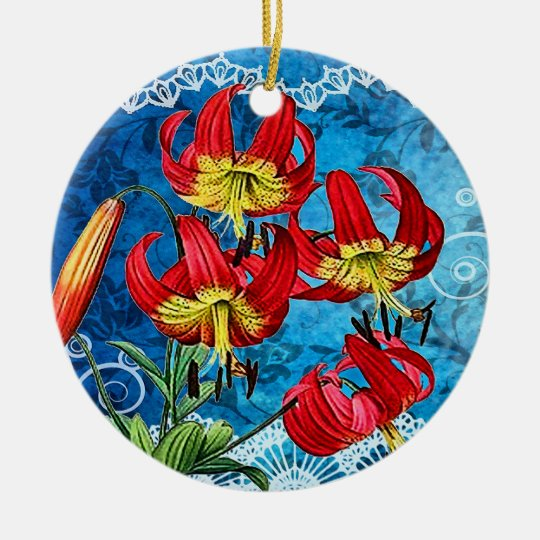 Red Lilies on Blue Vintage Collage Collectible Orn Ceramic Ornament