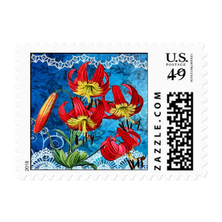 Red Lilies on Blue Vintage Collage Postage
