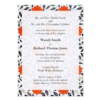 Red Lilies Pattern Wedding Invitations