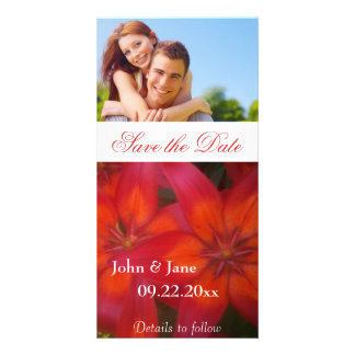 """Red Lilly/photo  """"Save the Date"""" Card"""