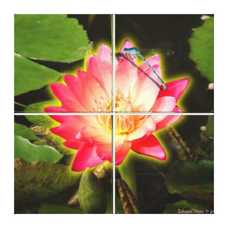 Red Lily and Dragonfly Wrapped Canvas