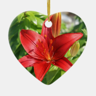 red lily flower picture ceramic ornament
