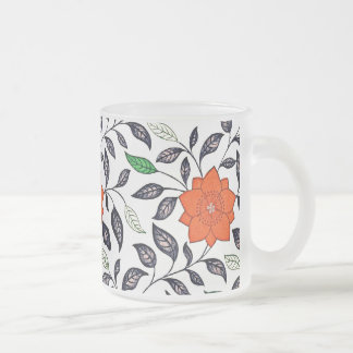 Red Lily Flowers Frosted Glass Coffee Mug