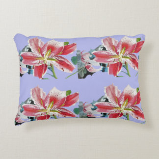 Red lily Lilac Mauve Lilies floral Decor Cushion