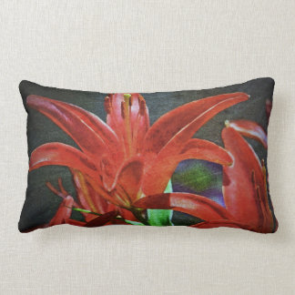 Red Lily-Textured by Shirley Taylor Lumbar Pillow