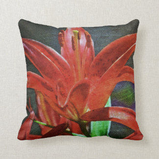 Red Lily-Textured by Shirley Taylor Throw Pillow
