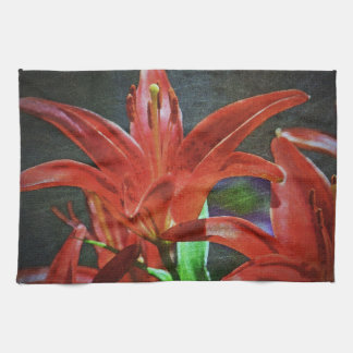 Red Lily Textured Kitchen Towel