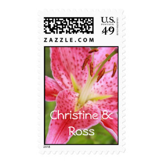 Red lily, wedding postage