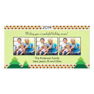 Red & Lime Green, 3 Photo Frame Christmas Custom Photo Card